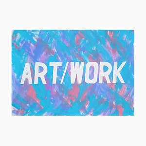 Word Art Calligraphy Painting, Acrylic Vivid Background, Cool Tones, 2021