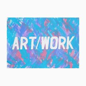 Wort-Kunst-Kalligraphie-Malerei, klarer Hintergrund des Acryls, kühle Töne, 2021