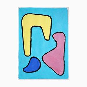 Abstrakte lebendige Malerei auf Papier, Naïf Stil, 2021