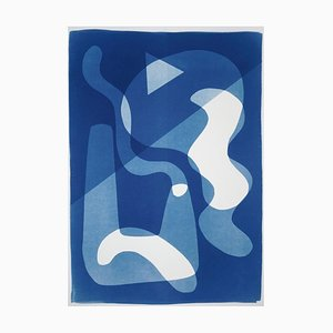 Futuristic Shapes in White and Blue, Monotype, 2021