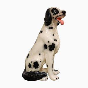 Perro dálmata vintage de cerámica pintada, años 70