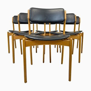 Mid-Century Teak & Oak-Leather OD49 Dining Chairs by Erik Buch, Denmark, 1960s, Set of 6