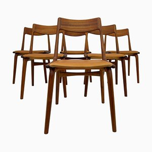 Mid-Century Teak and Leather Boomerang Chairs by Alfred Christiansen, Set of 6