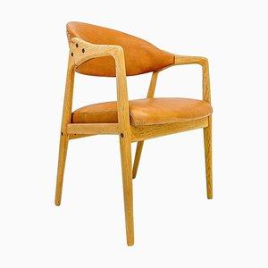 Silla de escritorio Mid-Century de cuero de roble de Yngve Ekström para Gemla Furniture, Sweden, 1956