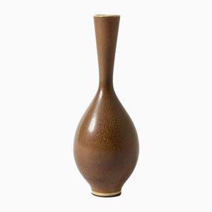 Braune Steingut Vase von Berndt Friberg