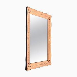 Rechteckiger geätzter Mid-Century Spiegel mit Venezianischem Rahmen in Rosa & Bronze, Frankreich