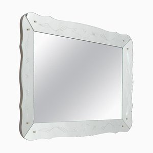 Mid-Century Rectangular Venetian Style Etched Mirror, France