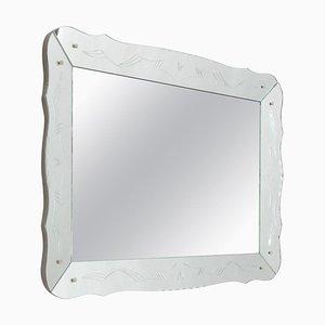 Rechteckiger geätzter Mid-Century Spiegel im Venezianischen Stil, Frankreich