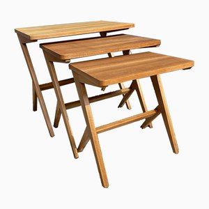 Mid-Century Swedish Scissor Z Leg Nesting Tables by Bengt Ruda