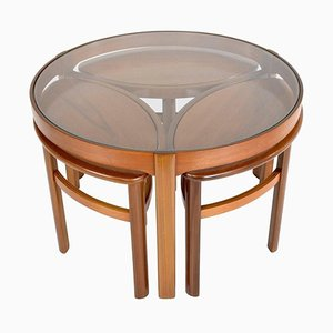 Mid-Century Trinity Round Coffee Table in Oak & Teak from Nathan, England