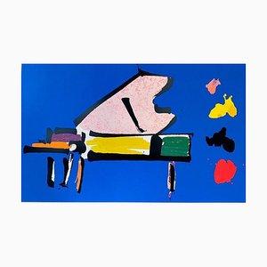 Colour Lithographie von Giuseppe Chiari, Piano, 1989