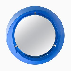 Abgerundeter Mid-Century Spiegel aus Blauem Glas, 1960er