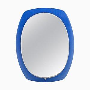 Mid-Century Oval Blue Glass Mirror, Italy, 1960
