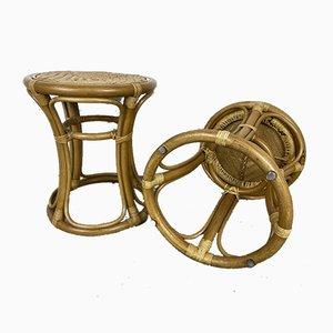 Vintage Hocker aus Rattan