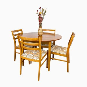 Mid-Century Dining Set with Round Table and 4 Chairs