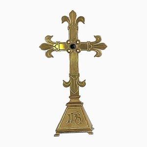 Großes Altar Kreuz aus Bronze, 19. Jh
