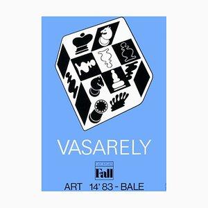 Expo 83 - Art Basel - Echecs Fond Bleu by Victor Vasarely