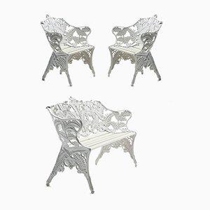 Sedie da giardino Mid-Century in ghisa e divano di Byarums Bruk, anni '50, set di 3