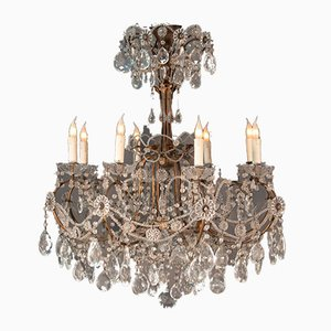 Vintage Kristallglas Kronleuchter mit 8 Leuchten im Louis XV Stil, 2er Set