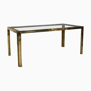 Italian Dining Table in Brass, 1970s