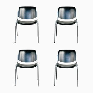 Black Lacquered Castelli Dsc 106 Stacking Chairs by Giancarlo Piretti, Set of 4