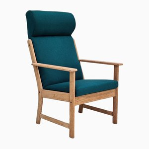 Danish Wool & Oak High Back Armchair by Jørgen Bækmark for FDB Møbler, 1970s