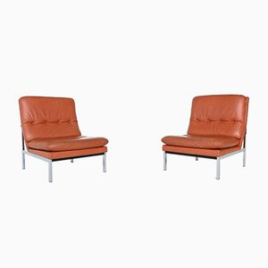 Belgian Beaufort Style Cognac Leather Lounge Chairs, 1960s, Set of 2