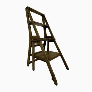 Early 20th Century French Library Metamorphic Step Ladder Chair