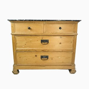 Antique Pine Farmhouse Chest of Drawers with Marble Top, 1920s