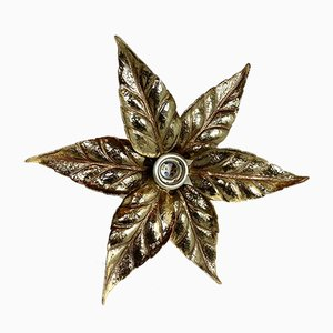 Belgian Brass Flower Wall Light by Willy Daro for Massive, 1970s