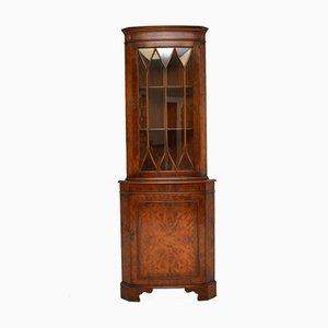 Antique Georgian Style Burr Walnut Corner Cabinet, 1950s