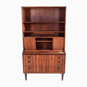 Danish Rosewood Bookcase with Desk & Sliding Doors, 1950s