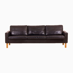 Vintage Scandinavian Black Buffalo Leather Sofa with Oak Legs in the Style of Børge Mogensen