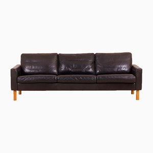 Vintage Scandinavian Black Buffalo Leather Sofa with Oak Legs in the Style of Børge Mogensen