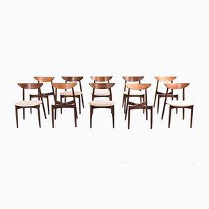 Sedie da pranzo in palissandro di Harry Østergaard per Randers Møbelfabrik, anni '50, set di 10