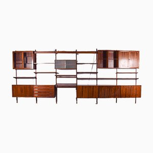 Big Rosewood Wall Unit by Kai Kristiansen for FM Møbler, 1960s