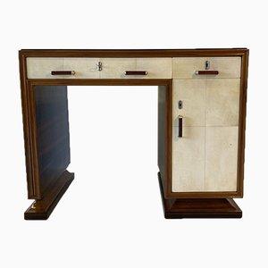 Italienischer Art Deco Makassar, Pergament & schwarzer Opalglas Schreibtisch, 1940er