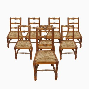 Neo-Breton Style Rustic Side Chairs in the Style of Victor Courtray, 1940s, Set of 8