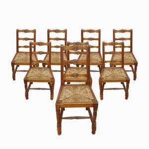 Rustikale Beistellstühle im Neobaron Stil von Victor Courtray, 1940er, 8er Set
