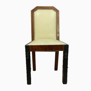 Sedie da pranzo Ruhlmann in stile Art Déco in ebano macassar e mogano, anni '20, set di 4