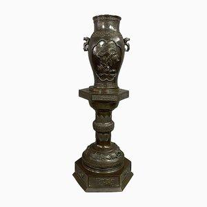 Large Bronze Vase on Pedestal, 1850s
