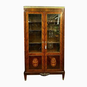 Large Louis XVI Inlaid Wood Bookcase, 1850s