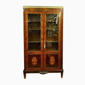 Librería Louis XVI grande de madera con incrustaciones, década de 1850