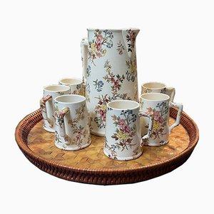 Louis XV Style Tea Set from Sarreguemines, 1950s, Set of 7