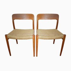 Dänische Mod.75 Esszimmerstühle von Nils Otto Möller für JL Möller, 1970er, 2er Set