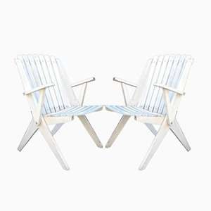 French Wooden Folding Armchairs with Armrests, 1970s, Set of 2
