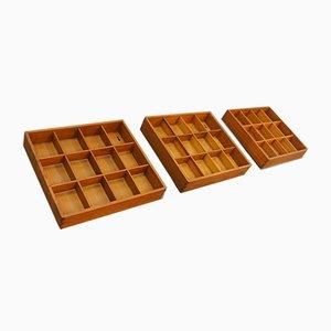 Mensole Mid-Century in legno di quercia massiccio, Danimarca, set di 3