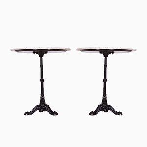 Table Piédestal Art Nouveau en Fer Forgé et Marbre, 1920s