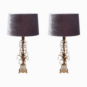 Italian Crystal & Tole Metal Table Lamps, 1960s, Set of 2
