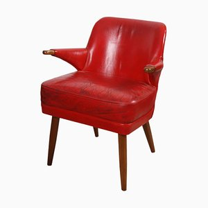 English Red Leather Armchair, 1950s